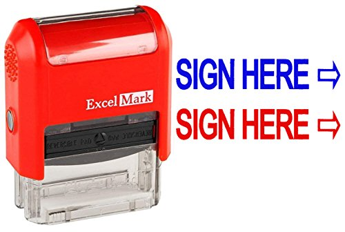 Sign HERE - ExcelMark Self-Inking Two-Color Rubber Office Stamp - Red and Blue Ink