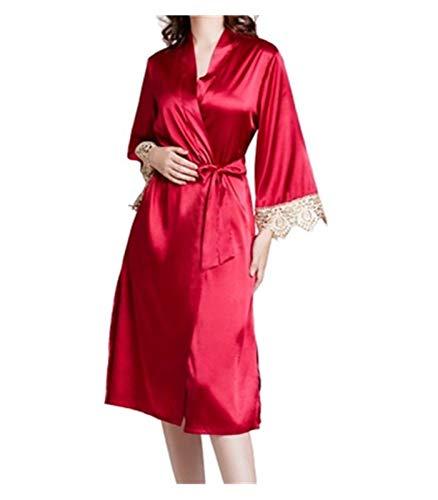 Bedgown Vrouwelijke Vrouw Zijde Zachte Lente Zomer Herfst Dunne Sectie Kant Nachtkleding pyjama/Nachtjapon Pak Vriendelijke Prijs XL Wijn Rood