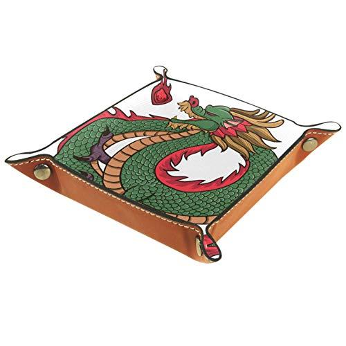 ZDL Caja de almacenamiento tradicional de dragón chino verde organizador para llaves, teléfono, moneda, cartera, relojes, etc. 16 x 16