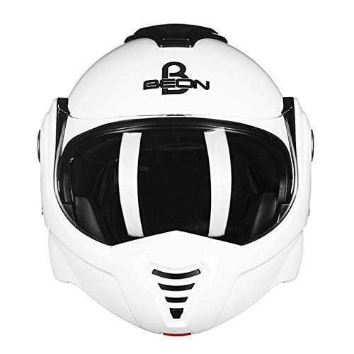 ZLYJ Casco De Motocicleta Valiant Convert, Doble Visera, Casco Frontal Abatible para Motocicleta, Negro Mate, Aprobado por ECE B,XL(59-60cm)