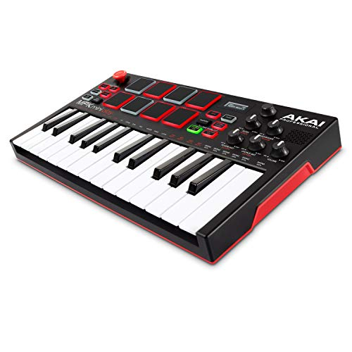 AKAI Professional MPK Mini Play – Standalone Mini Keyboard USB Controller mit eingebautem Lautsprecher, Pads im MPC-Stil, On-board Effekte, 128 Instrumenten, 10 Drum-Sounds, Software Suite