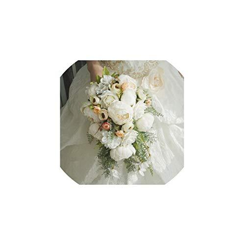 Wedding Bouquets Künstliche Braut Blumen-Wasser-Tröpfchen-Wasserfall Blumen-Brautsträuße, Weiß Plus Rosa