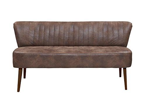 lifestyle4living Esszimmerbank mit Rückenlehne, Braun, 3-Sitzer, Vintage Look, rückenecht | Sitzbank für Esszimmer mit bequemer Polsterung - Füße Buche Massiv-Holz