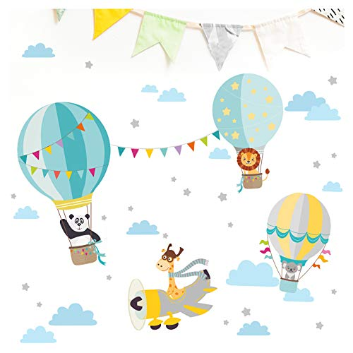 Little Deco Aufkleber Kinderzimmer Junge Tiere Flugzeug I Wandbild - 94 x 48 cm (BxH) I Heißluftballon Giraffe Grau Gelb Mint Sticker Kinder Wandtattoo DL339