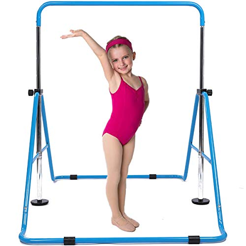DOBESTS Expandable Gymnastics Bars,Gymnastic Equipment for Home,Adjustable Height Junior Training Bar Children Folding Monkey Bars for Kids (Blue)