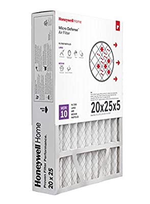 Honeywell Home MicroDefense AC Furnace Air Filter 20 x 25 x 5 MERV 10 (1 pk) - CF508A2025