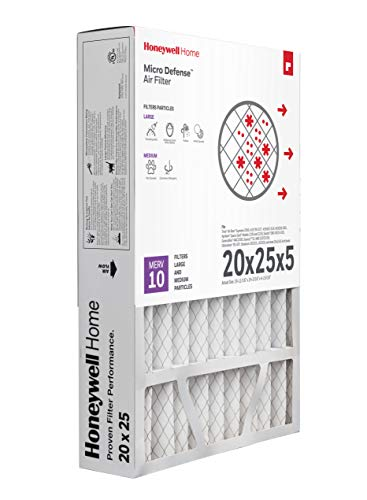 Honeywell Home MicroDefense AC Furnace Air Filter 20 x 25 x 5 MERV 10 (1 pk) - CF508A2025
