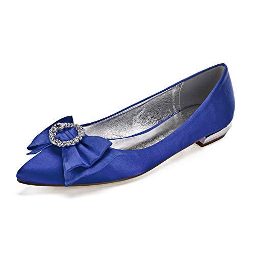 L@YC Moda Sedientos Damas Damas Mediados Tacones Bajos En Punta Bombas De Trabajo De Oficina Inteligente Tamaño De Los Zapatos De Tenis,Azul,37