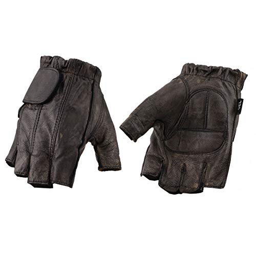 Milwaukee Leather MG7561 Men's Fingerless Distressed Brown Gloves with Gel Palm - 2X-Large