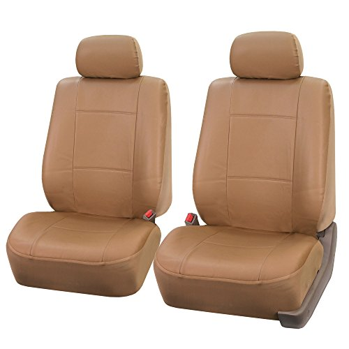 FH Group PU001102 PU Leather Seat Covers (Tan Color) Front Set  Universal Fit for Cars Trucks & SUVs