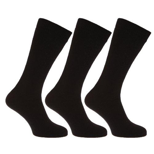 Textiles Universels Chaussettes thermiques extra longues pour homme (lot de 3 paires) (39-45) (Noir)