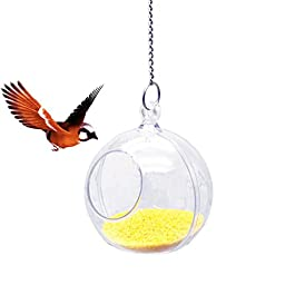 Seasons Shop Creative Bird Foraging Toy Transparent Acrylic Bird Seed Food Feeding Ball With Wire Rope Parrot Cage Hanging Food Feeder Puzzle Toys For Parrot Budgie Parakeet Rat Hamster Squirrel