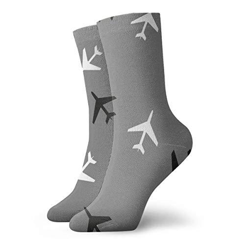Zwart en Wit Vliegtuigen Grijze achtergrond Modieuze Kleurrijke Funky Patroon Katoen Jurk Sokken 11,8 inch