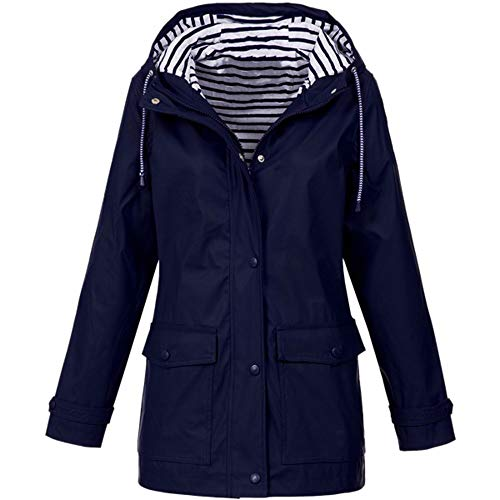 FORUU Women's Windbreaker Plus Size,2021 Ladies Autumn Winter Coat Casual Simple Solid Front Zip Fastening Outdoor Rain Jackets Pockets Hooded Raincoat Trench Coat