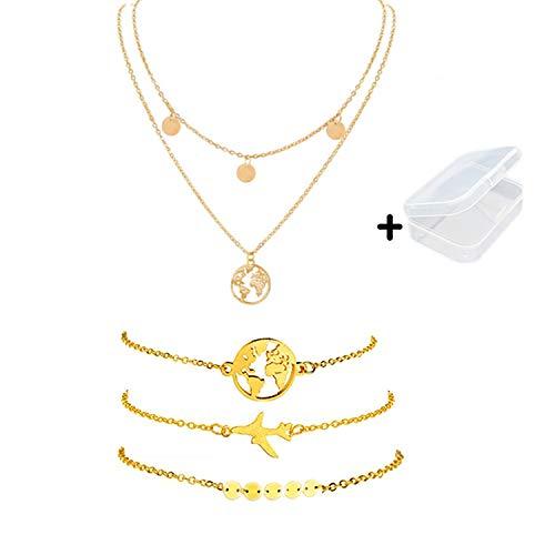PPX 4 Piezas Bohemian Multi - Collar y Pulsera de Capa con Colgante de Mapa del Mundo y Lentejuelas para Mujeres y Niñas,con Caja Transparente