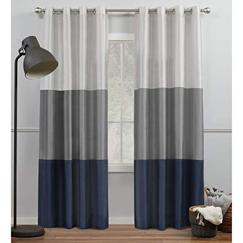 Exclusive Home Curtains Chateau Striped Faux Silk Grommet Top Curtain Panel Pair, 54x96, Navy/Grey