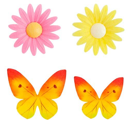 Dekora - Kit de flores y mariposas de Papel de Oblea para Decoración de Tartas, Cupcakes u otros Postres
