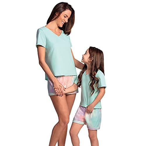 Conjunto de pijama Curto, Lupo, Meninas, Verde Agua, 12