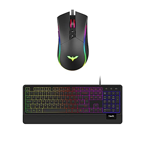 havit Wired Keyboard with Quiet Backlit and Wrist Rest RGB Gaming Mouse Wired Programmable Ergonomic USB Mice 4800 Dots Per Inch 7 Buttons & 7 Color Backlit for Laptop PC Gamer Computer Desk