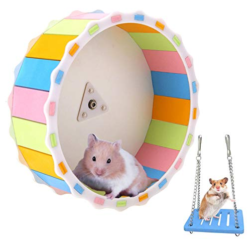 kathson Hamster Wheel, Slient Hamster Exercise Running Wheel with Swing Multi-Colored Sunflower Design Wooden Toy for Guinea Pig Chinchilla Hedgehog Small Animals Entertainment