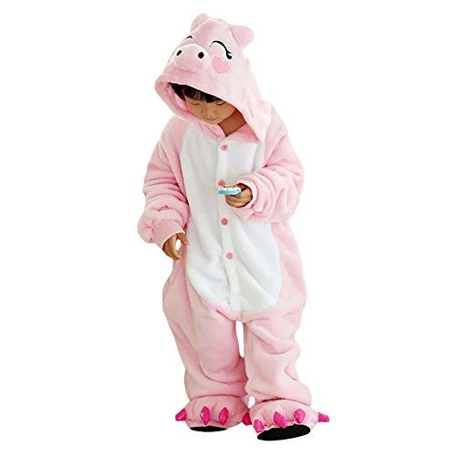 Free Fisher Kinder Jungen/Mädchen Cosplay Kostüm Jumpsuit Overall Schlafanzug Pyjama, Rosa Schwein, Gr. 116/122( Herstellergröße: 120)