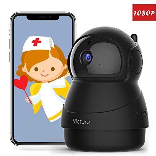 [Vamos España] Victure 1080P Cámara IP WiFi,Cámara de Vigilancia FHD con Visión Nocturna,Cámara de Mascota,Detección de Movimiento,Audio de 2 Vías, 2.4GHz WiFi, Compatible con iOS/Android (Negro)