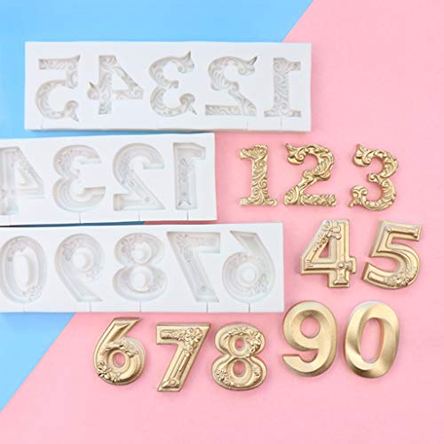 KOUJING Molde de silicona digital letras fondant Lollipop queso Stick Cake DIY decoración