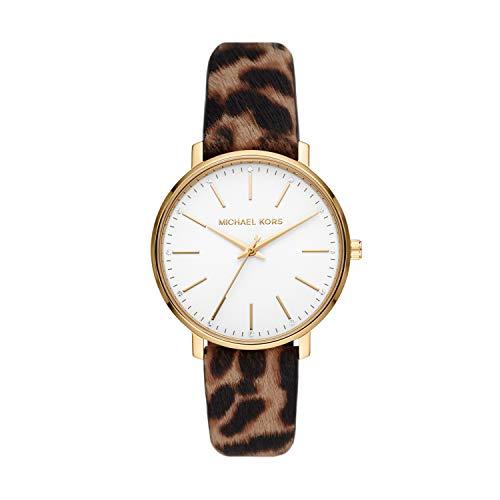 Michael Kors Women's Pyper Stainless Steel Quartz Watch with Leather Strap, Multicolor, 18 (Model: MK2928)