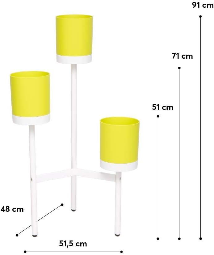 L 51,5 x P 48 x H 51//71//91 cm Portavasi Fioriera di Design con 3 Ripiani per Interni o Esterni Fioriera Tree 03 Metallo e Polipropilene