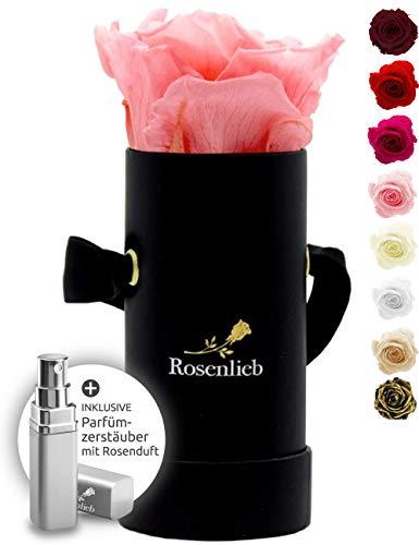 Rosenlieb Rosenbox mit Infinity Rosen (3 Jahre haltbar) | Echte konservierte Blumen | Flowerbox Inklusive Grußkarte Geburtstagsgeschenke(Pico Bella Schwarz, Rosa)