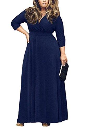 COMVIP Femme Vogue Maxi Robe Col V Foncé Uni Lâcghe Confortable Bleu Marine Size 2XL