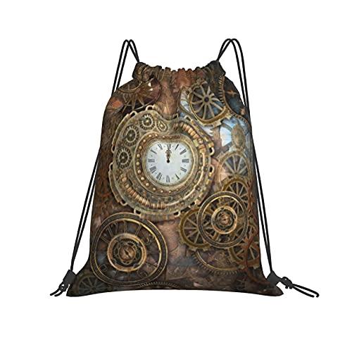 Mochila con cordón Rusty Steampunk con reloj y diferentes tipos de engranajes, mochila de gimnasio para senderismo, equipo de natación, entrenamiento, yoga, gimnasio, ejercicio al aire libre