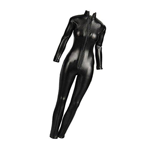 Desconocido 1/6 Traje Ropa Femenina Mono Chaqueta Cuero de Imitación Color Negro