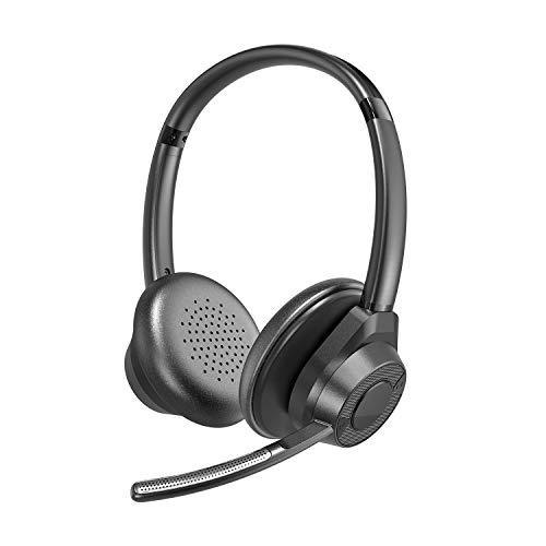 Bluetooth Headset 5.1 für Videokonferenz mit Mikrofon PC Handy Laptop zum telefonieren Bügel iPhone 12 SE 11 X XS 8 7 Plus Samsung Galaxy S21 S20 fe S20 S10 A51 Huawei P40 Gaming Kopfhörer - happyset