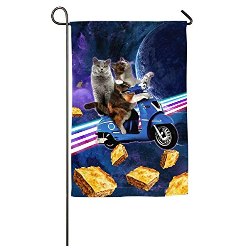 Emonye Cat Riding Scooter Travel with Space Lazer Galaxy Garden Flag House Banner Decorative Yard Flag for Wishing Party Home Outdoor Decor