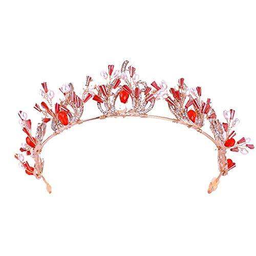 YWSZJ Mujeres Tiara - Corona de la Vendimia for la Princesa de Novia en la Boda del Partido del Desfile de cumpleaños