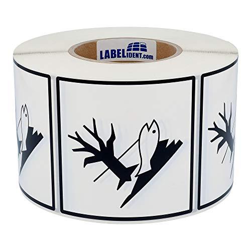Labelident Gefahrgutaufkleber 100 x 100 mm - Umweltgefährdende Stoffe, 1000 Gefahrgutetiketten auf 1 Rolle(n), 76 mm (3 Zoll) Rollenkern, Polyethylen weiß, selbstklebend