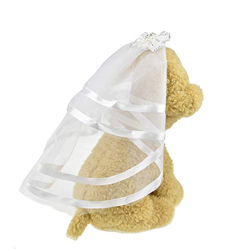 FLAdorepet Schleier für Hunde, kleine Hunde und Katzen, Hochzeitskleid, Brautkostüm, Hundehaarspangen, Haarnadel, Kopfbedeckung, Hundehaarzubehör