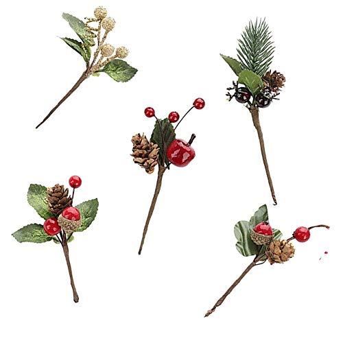 Bayas de Navidad Ramas de Pino, púas de Pino Artificiales, Tallos de Conos de Pino de Bayas Rojas de Navidad, para decoración de púas de Guirnalda de Manualidades navideñas 4 Piezas