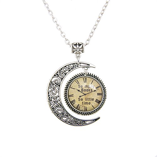 So Many Books So Little time Watch Pendant Old Clock Picture Picture Printed Jewelry Old Clock Necklace