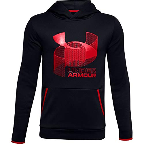 Under Armour Boys' Armour Fleece Branded Hoodie , Black (001)/Red , Youth Large