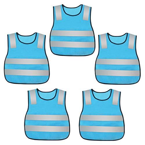 AIEOE - Chaleco Reflectante para niños (5 Unidades, Lavable, Talla única), Todo el año, Niños, Color Azul, tamaño Talla única