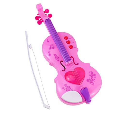 K9CK Kinder Geige, Rosa Kleine Elektrische Violine für Kinder, Musikinstrument Spielzeug mit Licht, 32cm