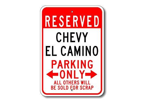 Dozili EL Camino Parkschild EL Camino Chevy EL Camino EL Camino EL Camino Dekor Chevy EL Camino Chevy EL Camino Chevrolet Metall Parkschild, Aluminium, einfarbig, 12