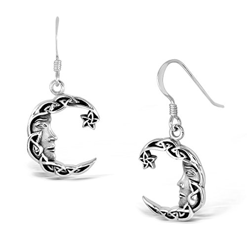 WithLoveSilver 925 Sterling Silver Charm Celtic Star Crescent Moon Dangle Hook Earrings