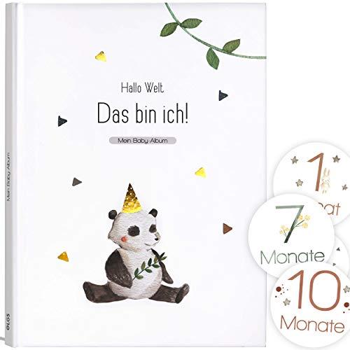 Mein Babyalbum Lino - Das bin ich! Babytagebuch für Neugeborene Junge/Mädchen 1. Jahr bis Kindergarten & Einschulung - A4, 66 Seiten + Meilenstein Sticker für Erinnerungsfotos