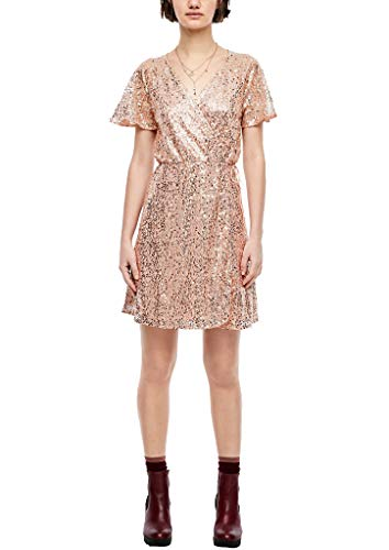 Q/S designed by - s.Oliver Damen 42.911.82.2605 Kleid, Silber (Silver Nude 0010), (Herstellergröße: 42)