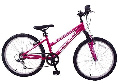 Ammaco Sienna 24' Wheel Girls Mountain Bike Front Suspension 6 Speed Lightweight Pink Age 8+