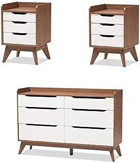Brighton 3 Piece Modern Dresser and (Set of 2) Nightstand Set in White Walnut