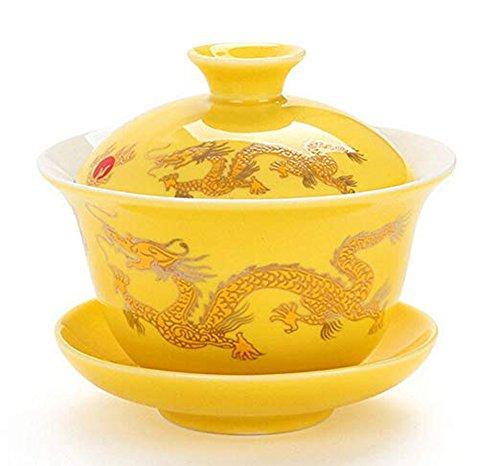 YBK Tech Porzellan Kung Fu Teetasse und Untertasse mit Deckel, chinesisches traditionelles Gaiwan Sancai Teeset Drachenmuster gelb
